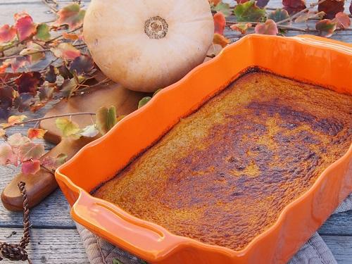 flan d'automne à la courge butternut et à la vanille en dessert