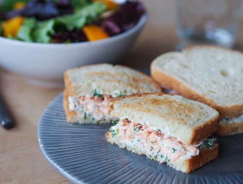 Grilled salmon, cream cheese, dill club sandwich