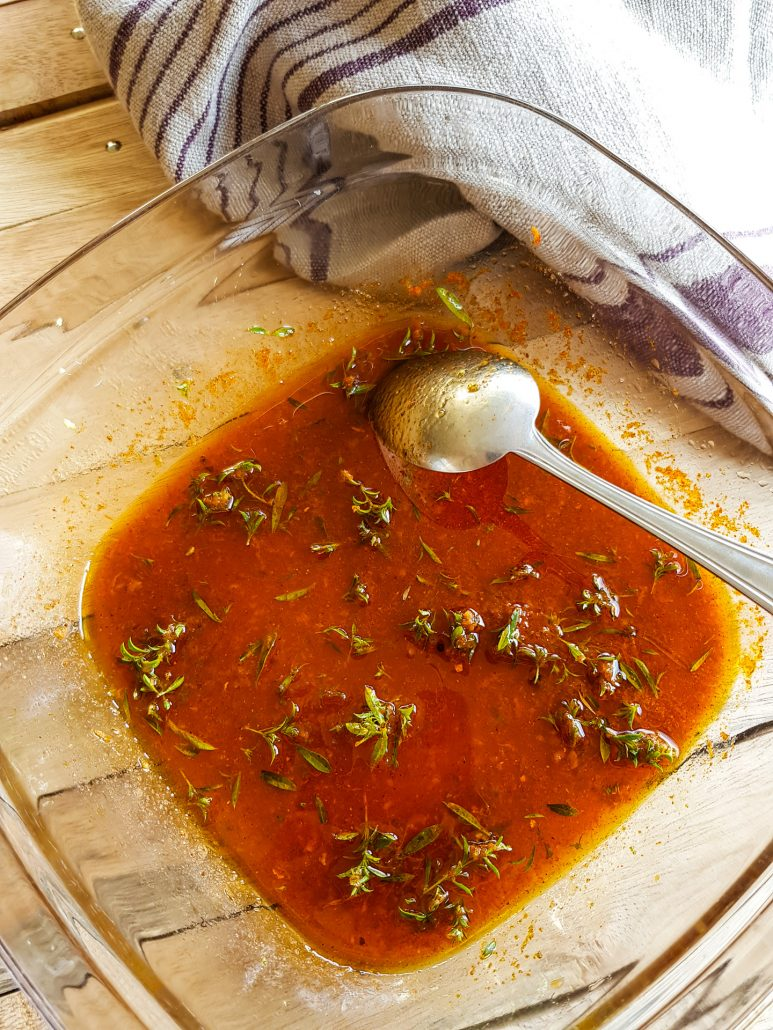 marinade pour barbecue (paprika et huile d'olive)