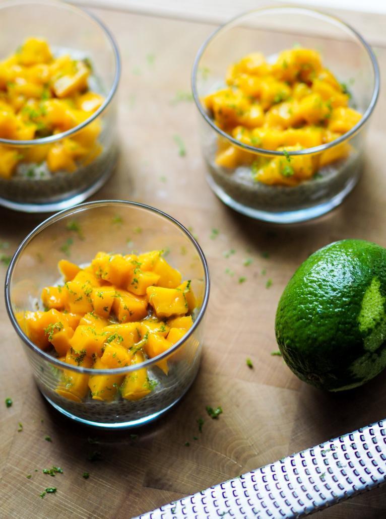 crème chia pudding à la mangue