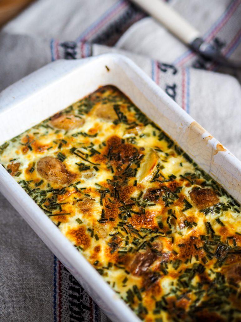 gratin de pommes de terre Ratte du Touquet au safran et à la ciboulette