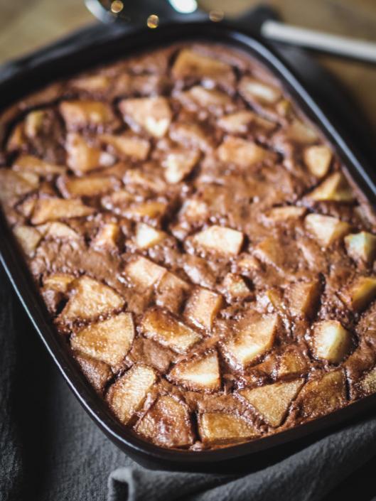 clafoutis gourmand à la poire et au chocolat