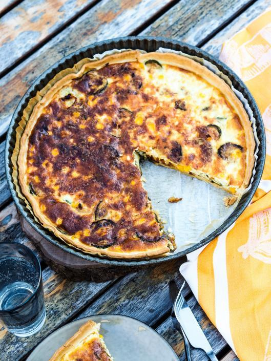 zucchini and sweet corn pie like a French quiche