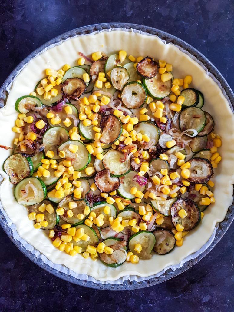 des courgettes poêlées et du maïs