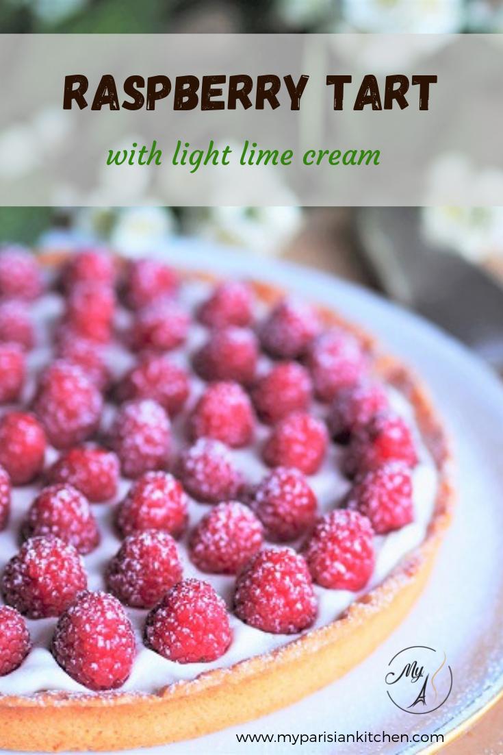 Raspberry tart wih light lime cream filling
