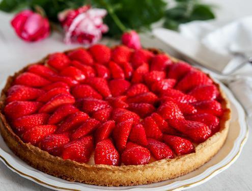 Tarte à la fraise pâte sablée et crème à la verveine