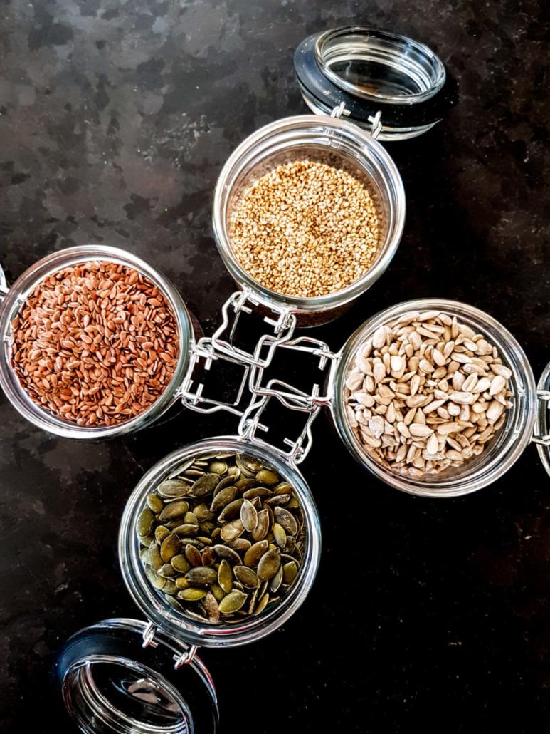 graines de lin, tournesol, sésame