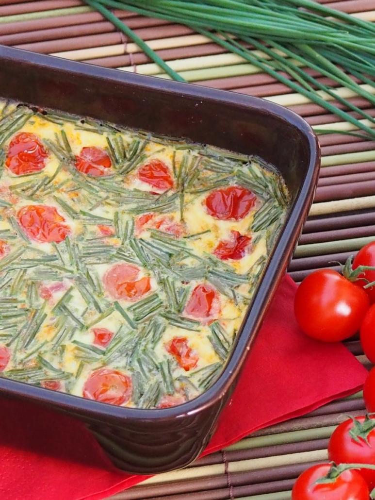 Flan à la tomate cerise et à la ciboulette
