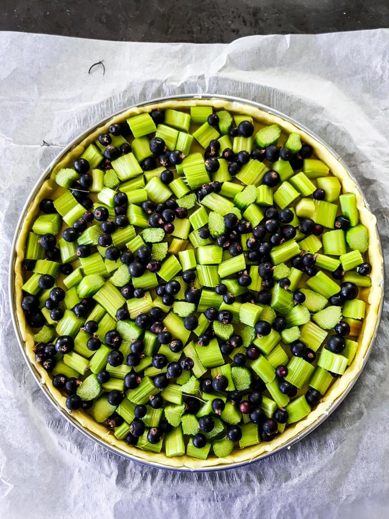de la rhubarbe et du cassis du jardin pour une tarte aux fruits