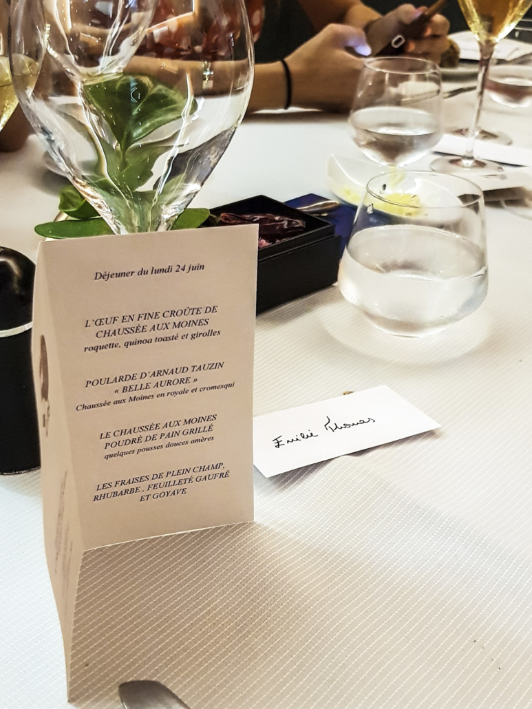 menu dégustation déjeuner presse au Carré des Feuillants