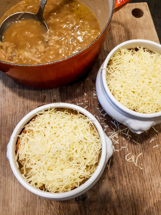 traditional French Onion soup ready to be broiled