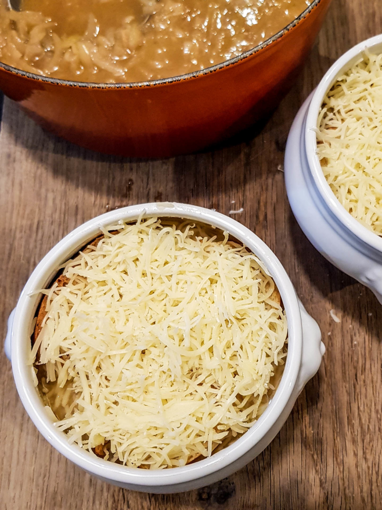 thick layer of shredded cheese for French onion soup