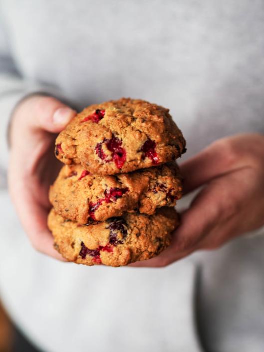 cookies aux cranberries fraîches et au chocolat