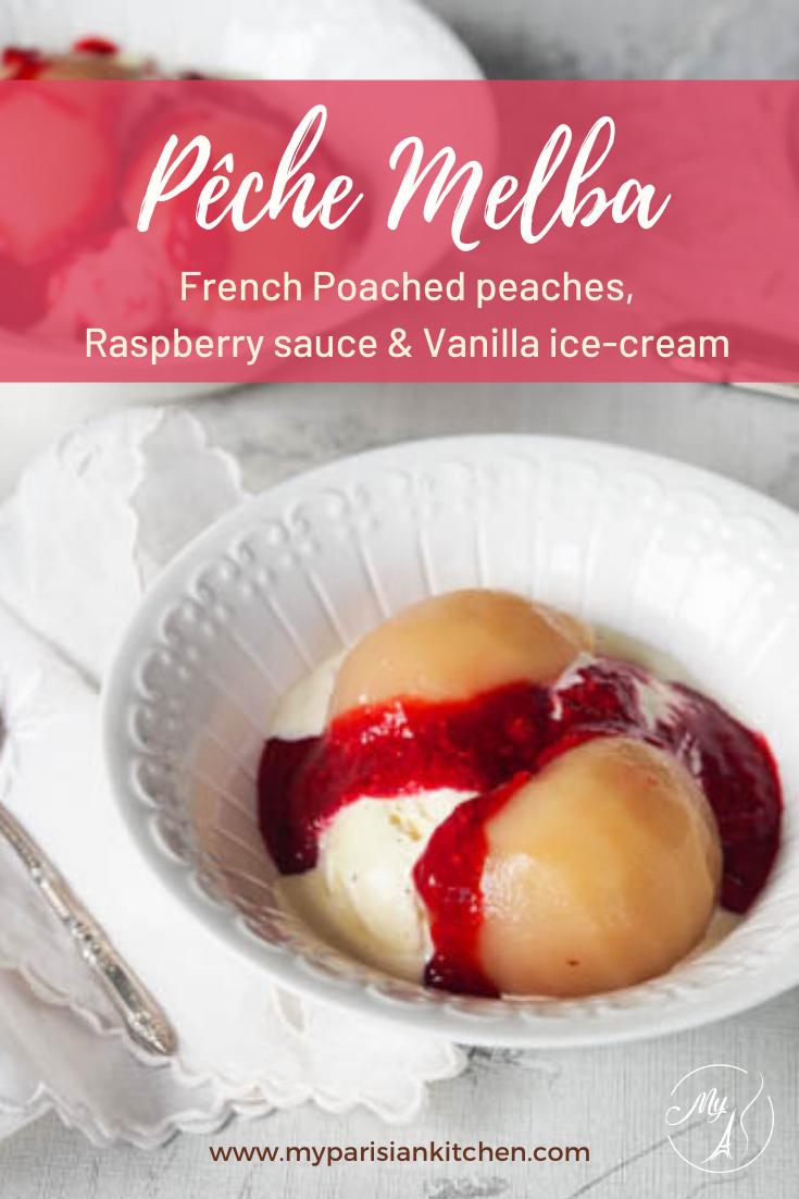 Peach Melba French traditional recipe form Escoffier