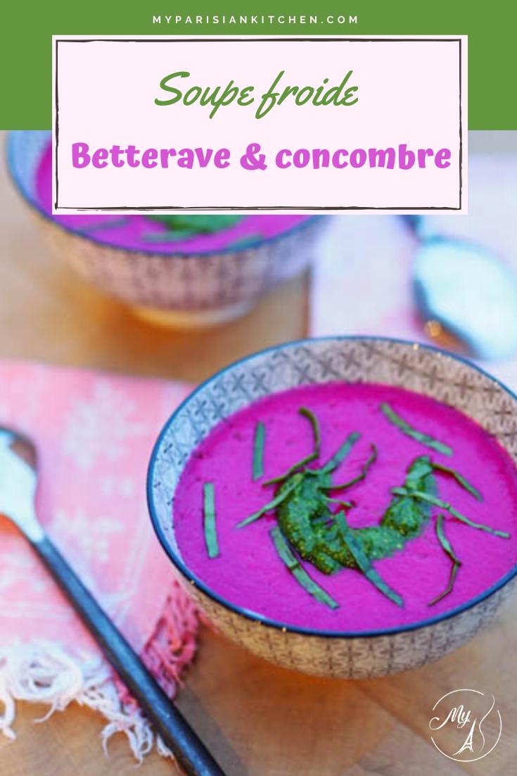 Soupe froide de betterave et concombre