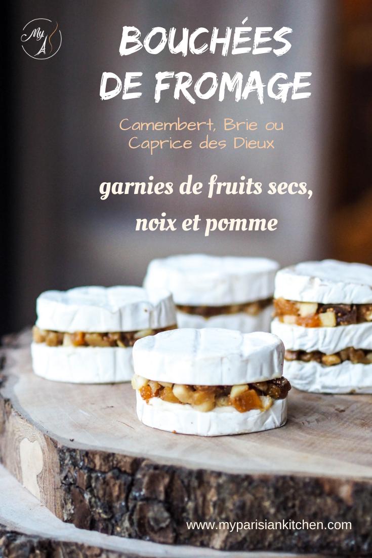 Bouchées au fromage garnies de mendiant de fruits secs et noix