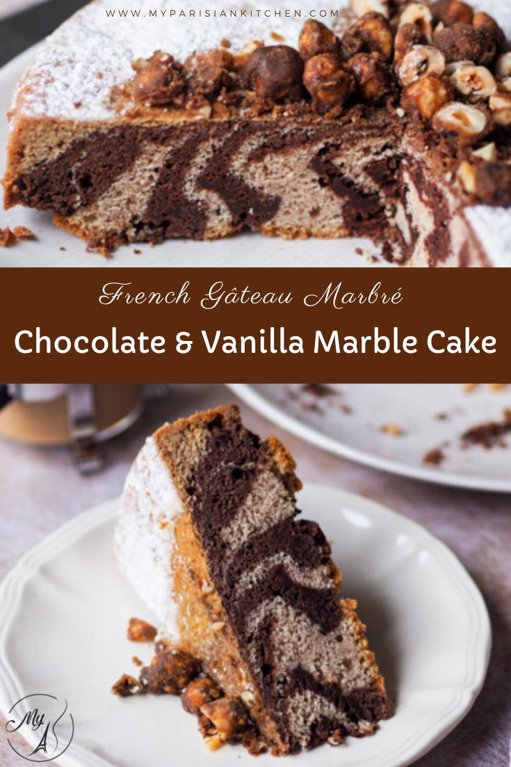 Chocolate and vanilla French classic marble cake