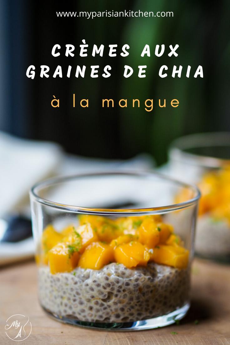 Crèmes aux graines de chia à la mangue