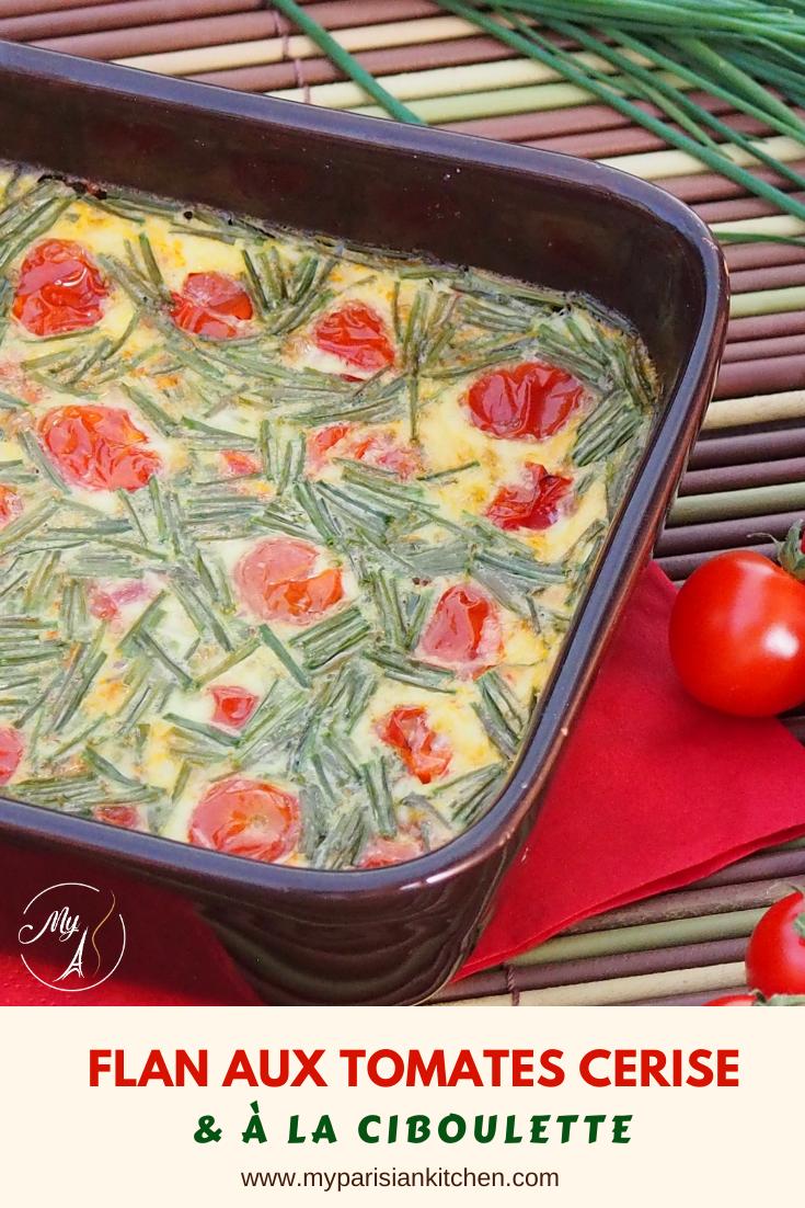 Flan aux tomates cerise et à la ciboulette