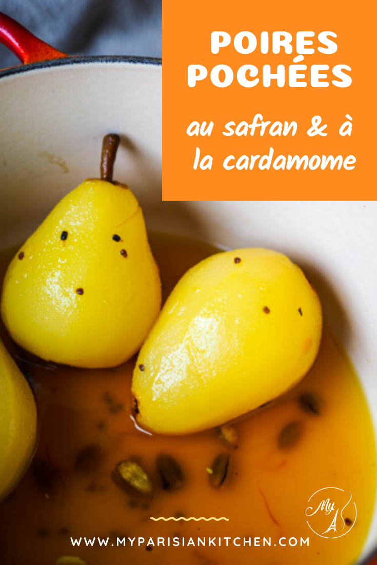 Poires pochées au safran et à la cardamome