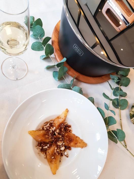 poires rôties au miel, dragées et spéculoos