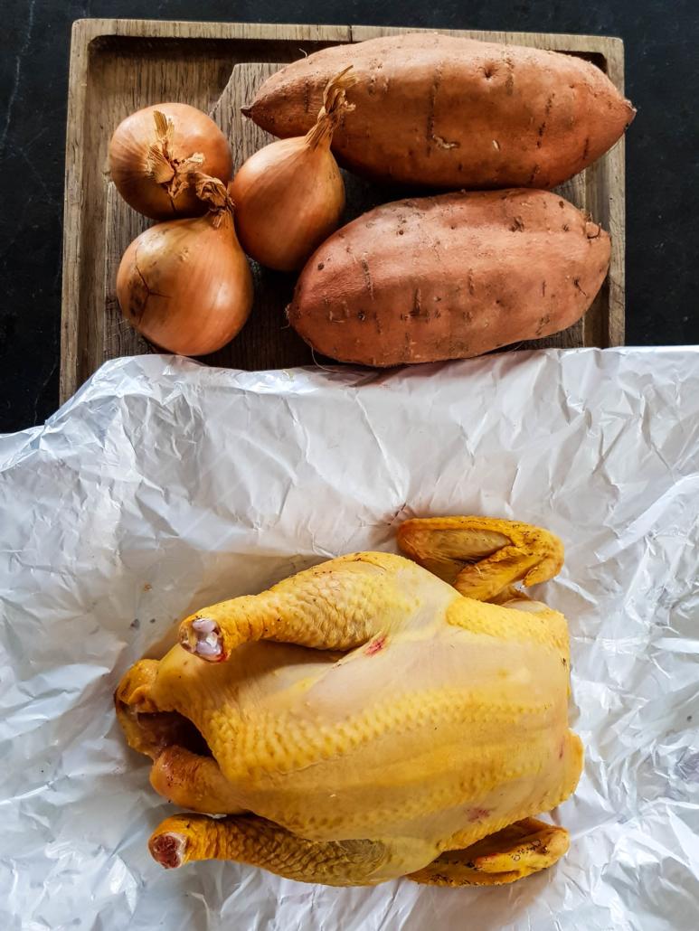 poulet oignons et patate douce