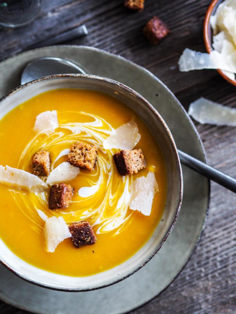 soupe potiron pain d'épices caramélisé