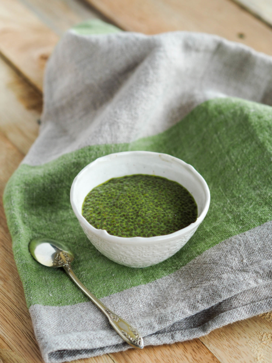 crème de chia pudding au thé vert matcha