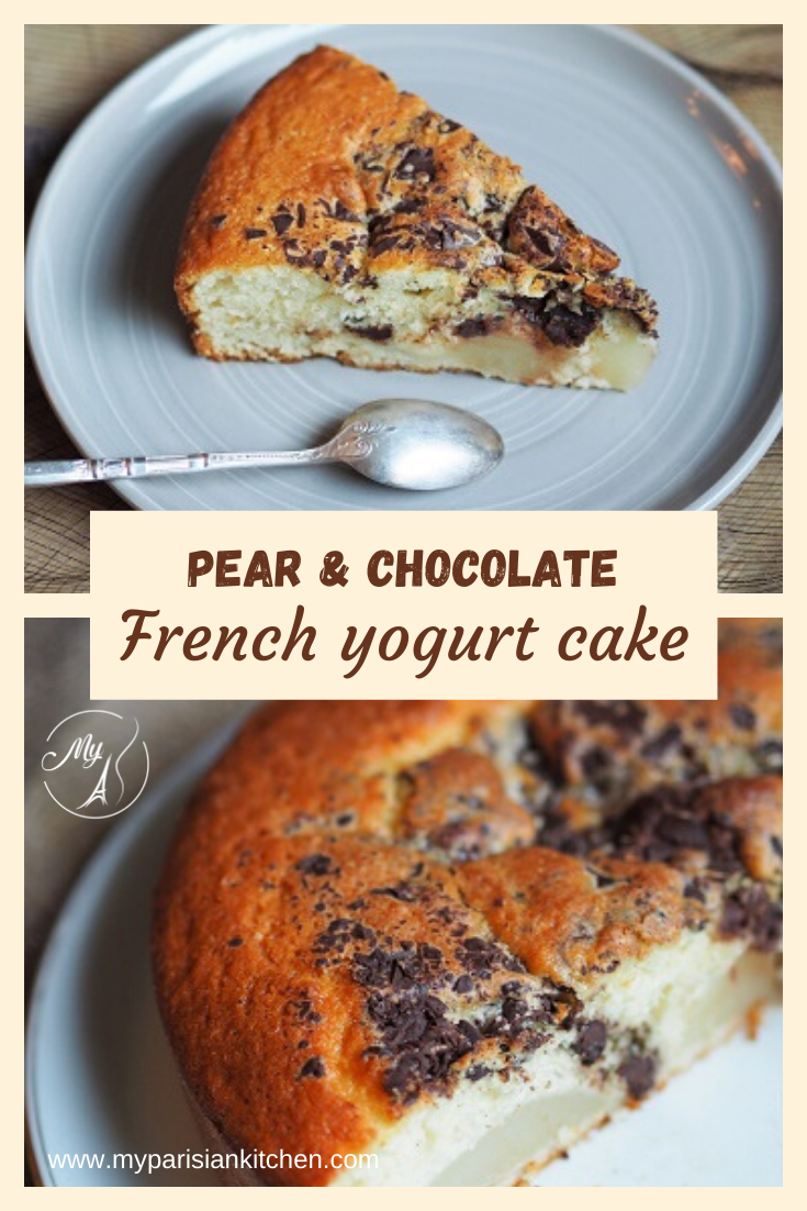 French homecooking classic yogurt cake with pears and chocolate chips.