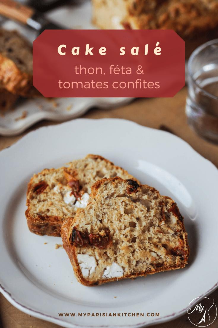 cake salé au thon, feta et tomates confites