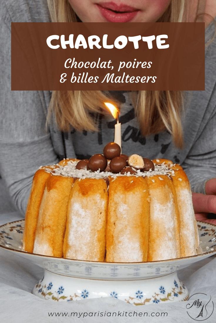 Charlotte au chocolat, poires et billes Maltesers