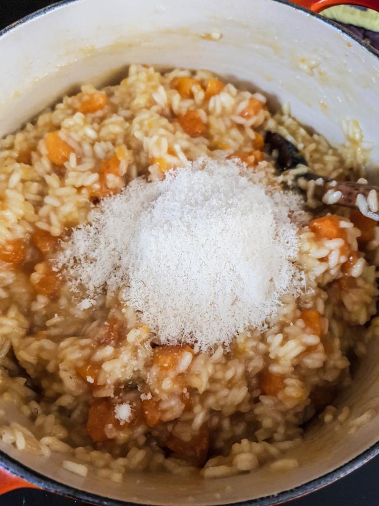 en dernier ajouter du parmesan râpé dans le risotto