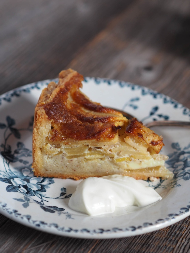 offer a spoonful of double cream with rustic apple tart