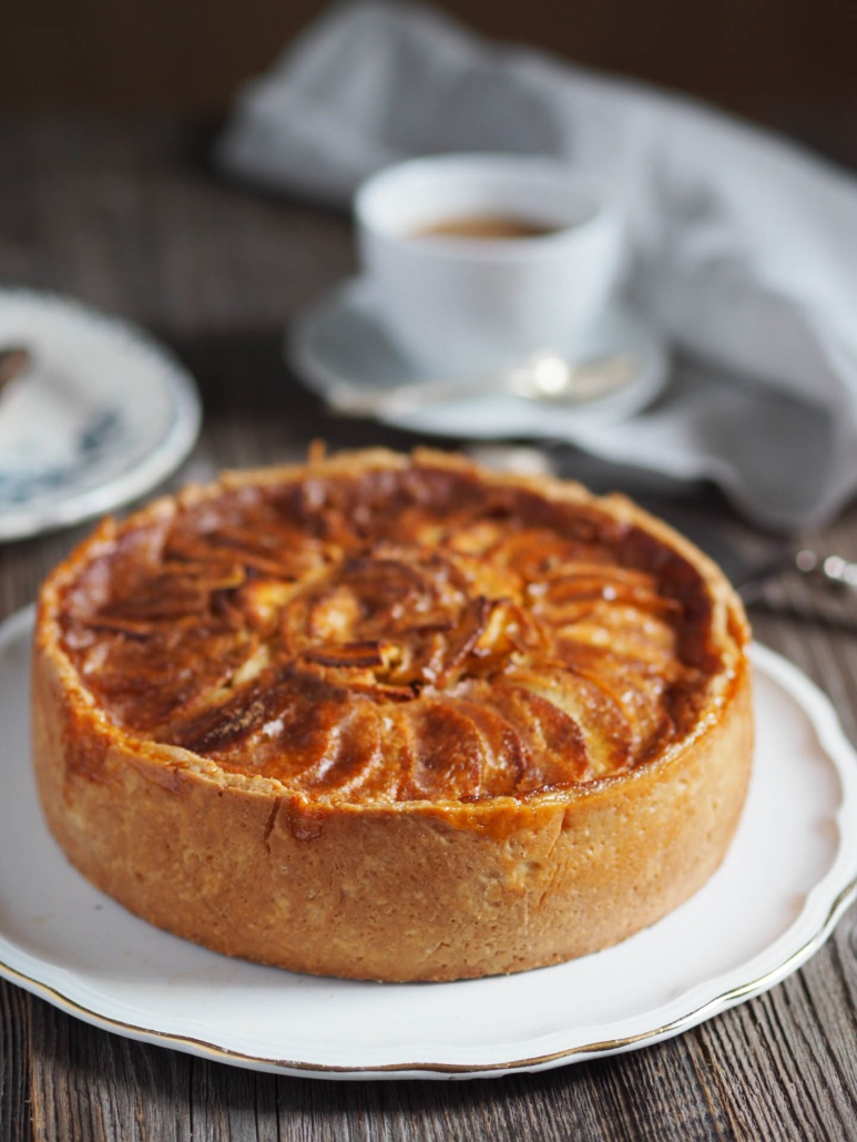 generous apple tart from French Normandy with decadent creamy filling