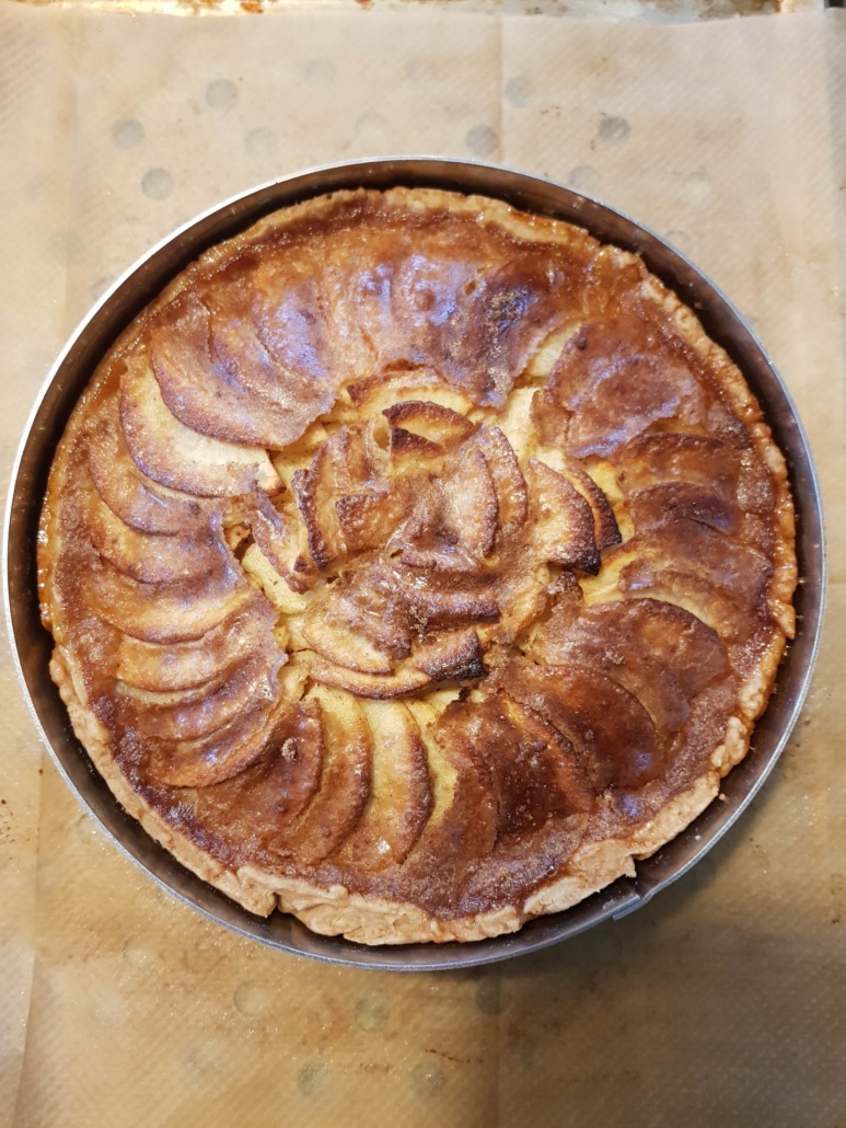 apple tart just came out of the oven