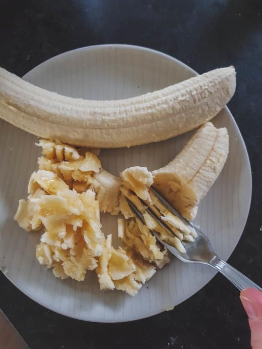 banane écrasée pour le banana bread