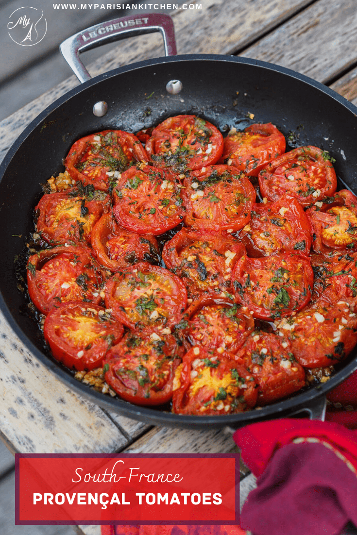 South-France Provençal Tomatoes fried in a pan, almost candied. Iconic recipe