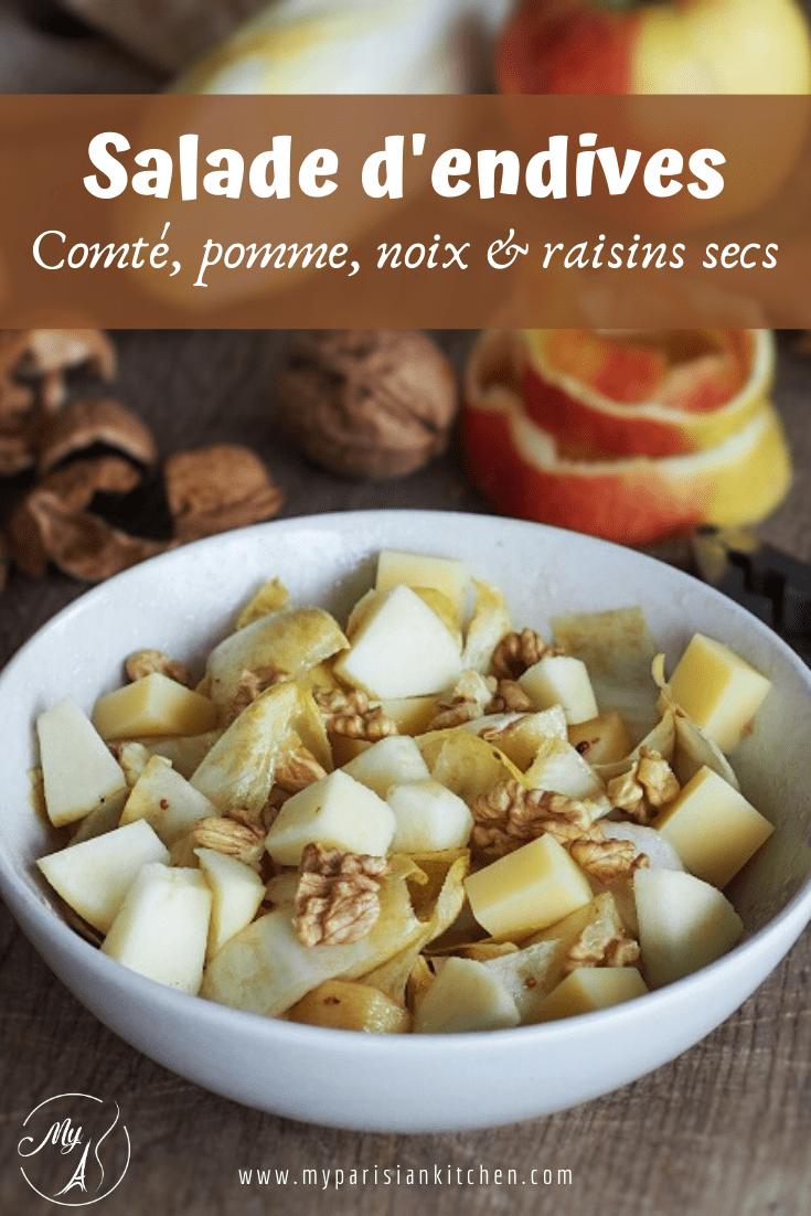 salade d'endives aver fromage, pomme, noix et raisins secs