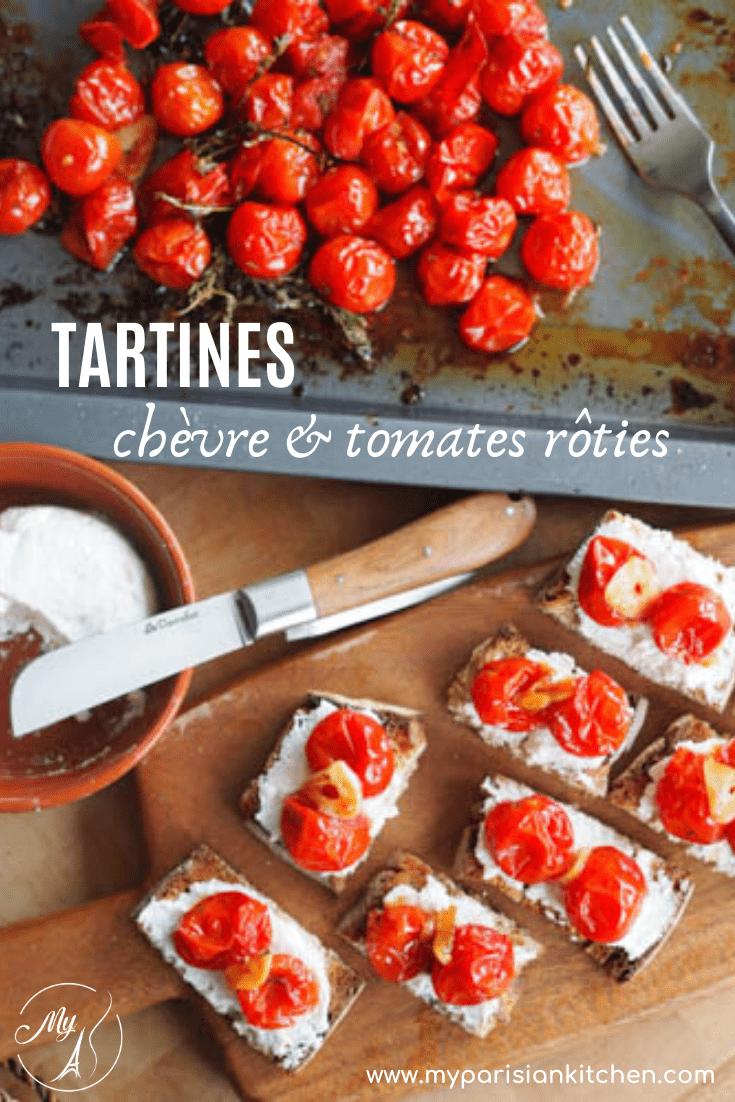 tartines apéro au chèvre et tomates cerise rôties