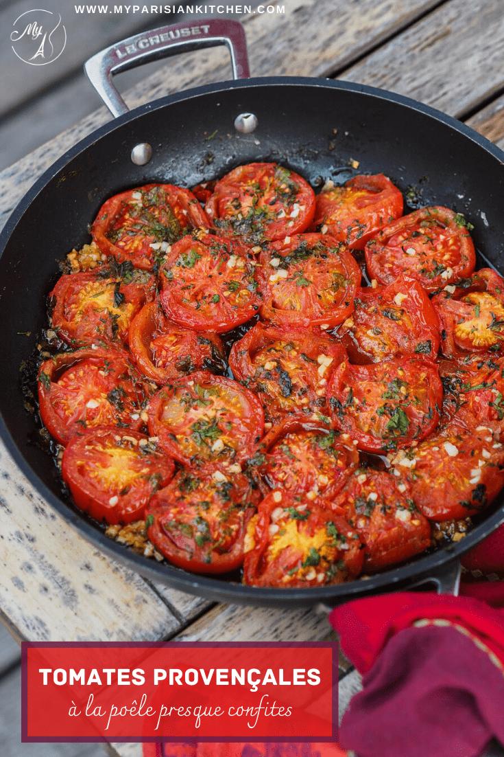 tomates provençales à la poêle, savoureuses et presque confites