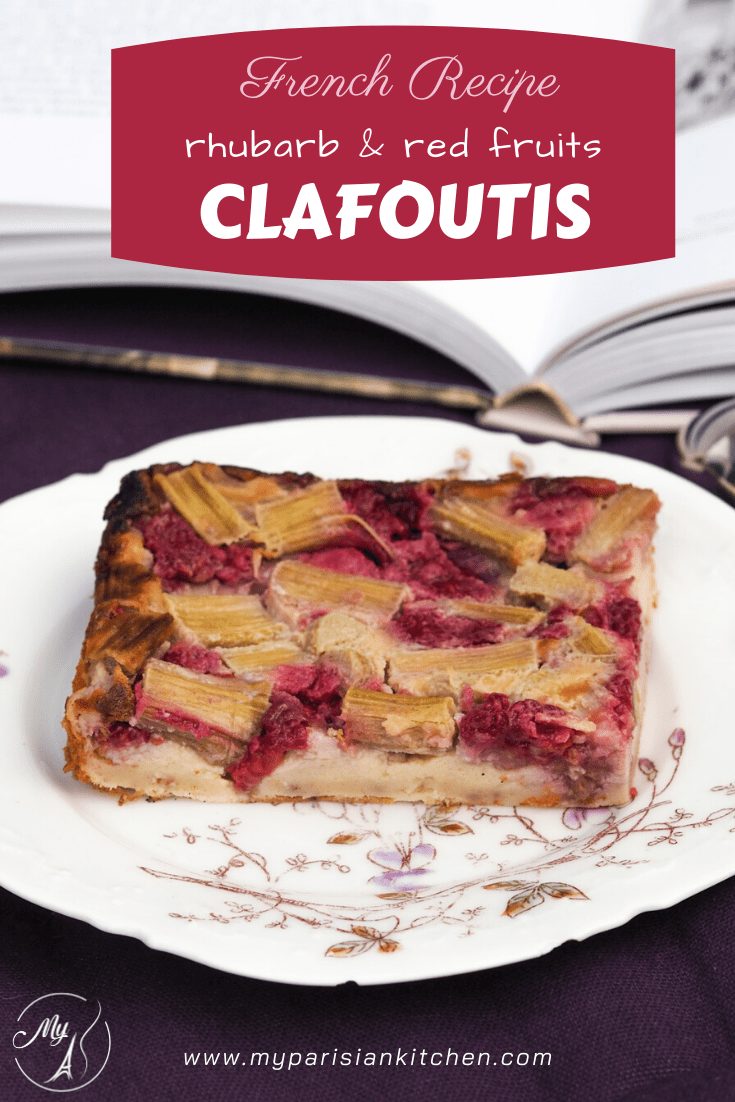 French classic clafoutis with rhubarb and red fruits (strawberry raspberry)