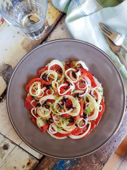 salade de tomates et fenouil, vinaigrette au Pastis