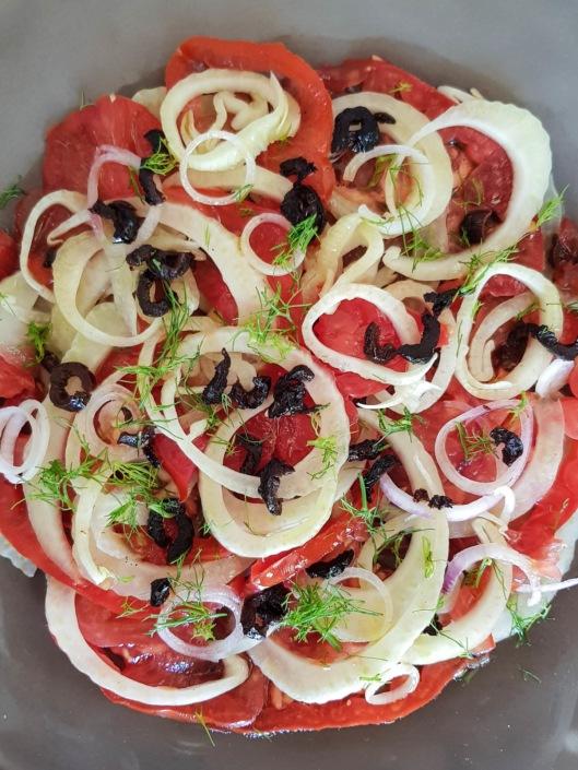 salade composée d'été tomates et fenouil