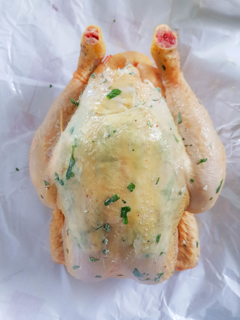 Sunday Roast chicken with herb compound butter