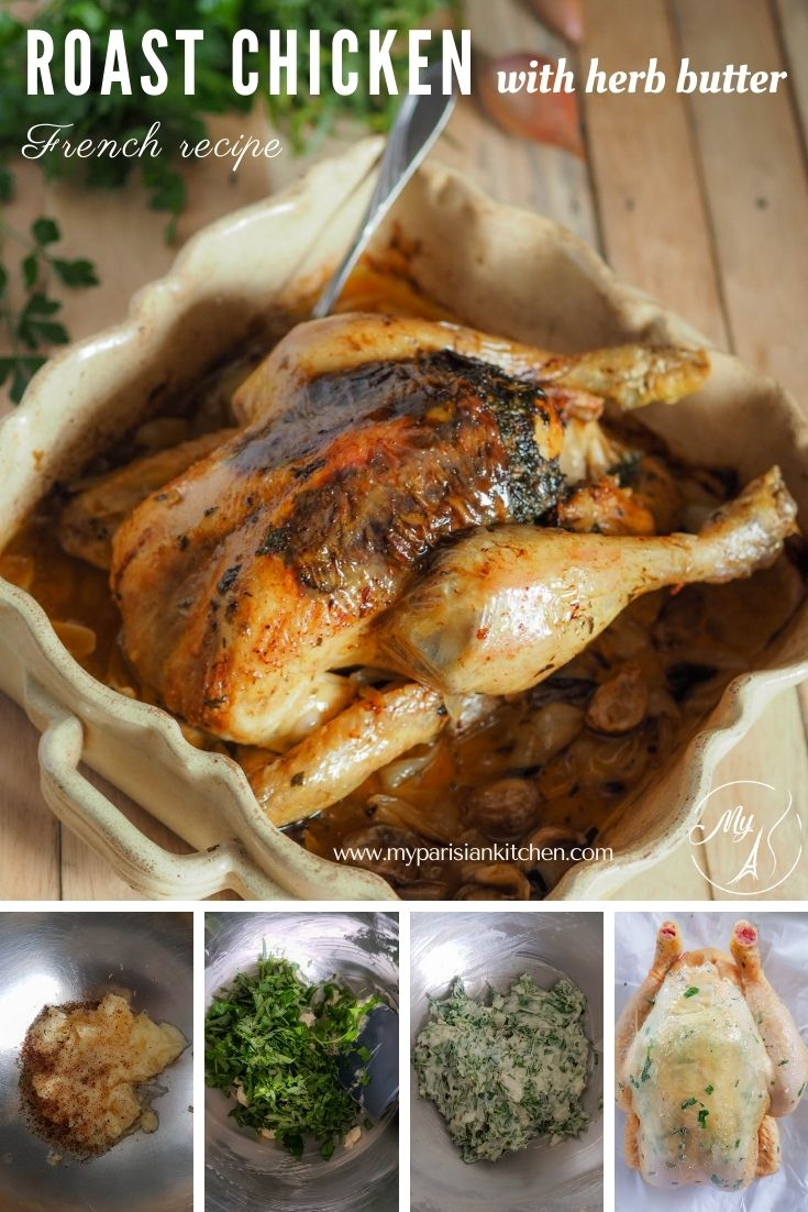 Sunday roast chicken with herb butter French recipe