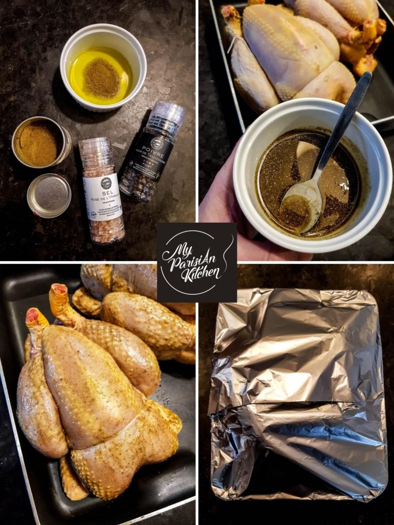 préparation du chapon rôti pour Noël