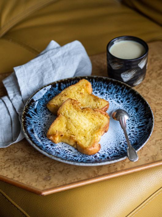 brioche bread French toast with vanilla ice cream