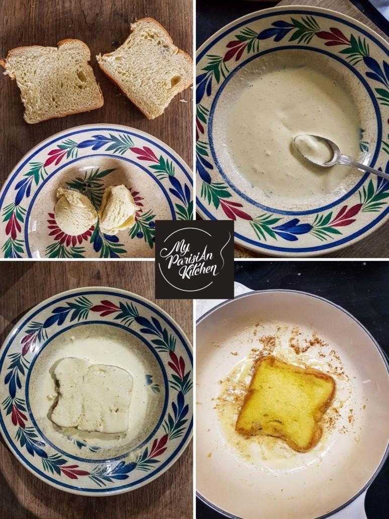 how to make brioche bread French toast with vanilla ice cream