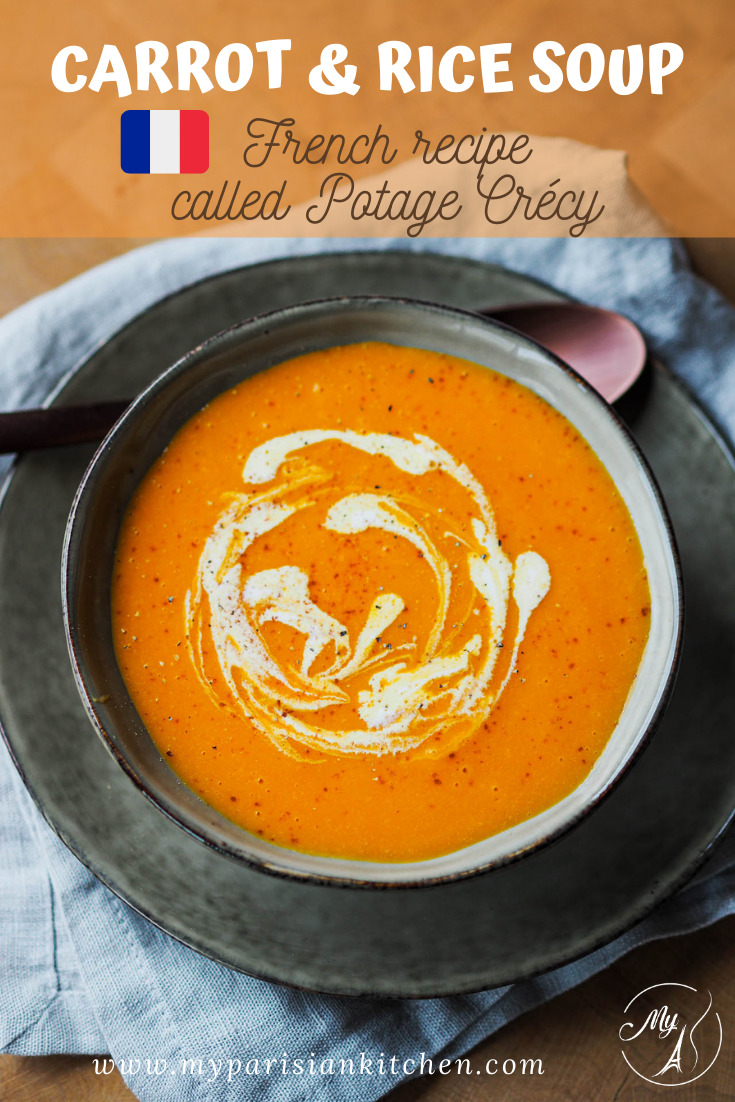 French traditional Crecy soup with carrot and rice