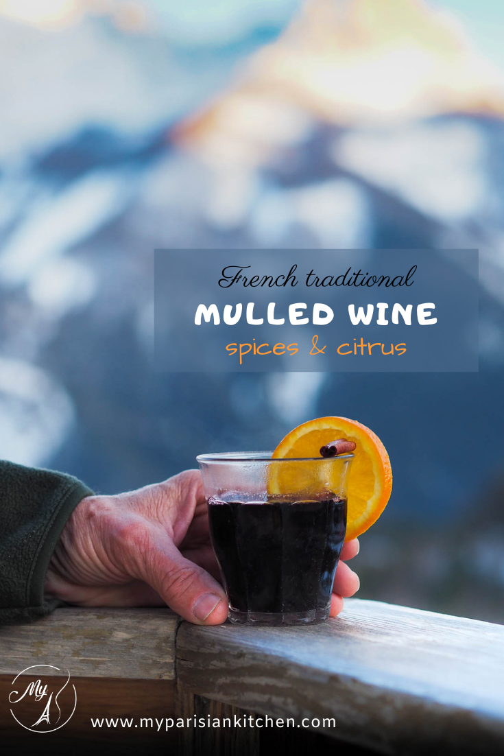 French vin chaud mulled wine with spcies and orange